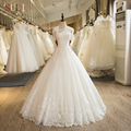 SL-5 Charming A-Line Short Sleeve Tulle Lace Appliques 2017 Wedding Dress