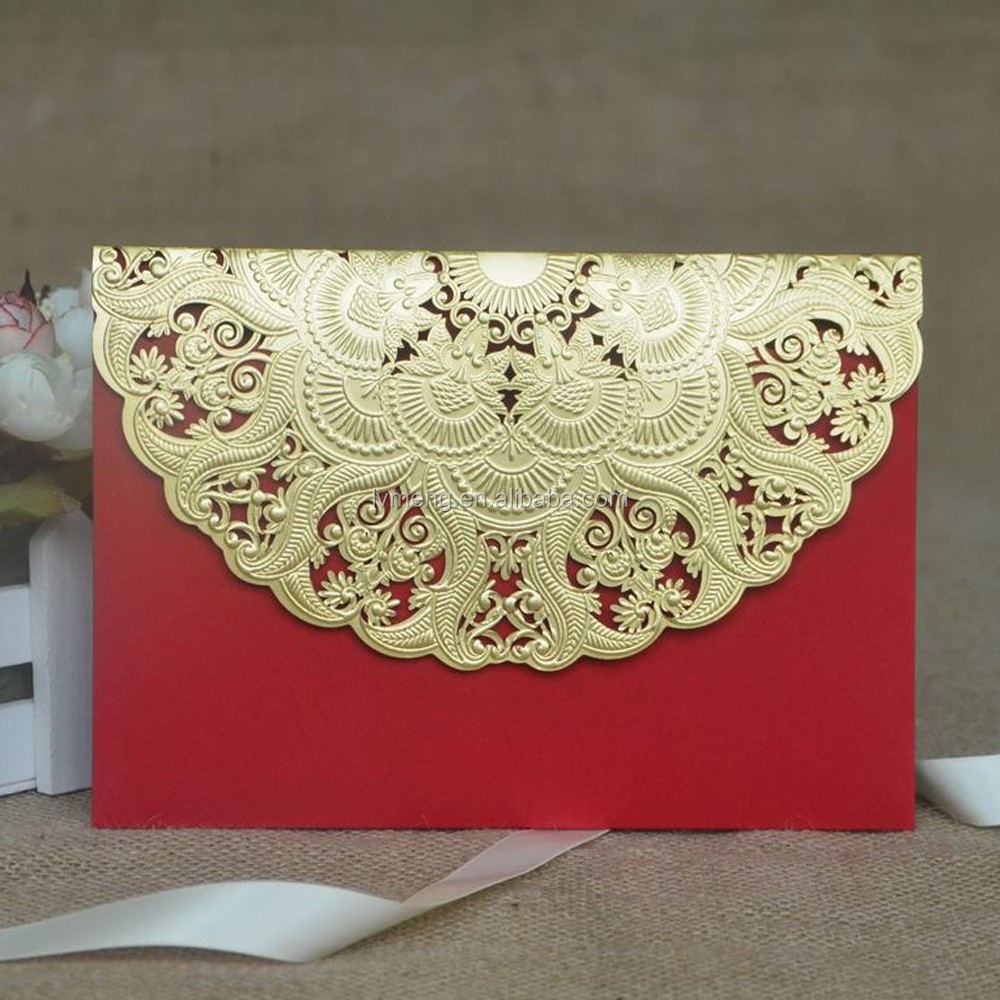 Discount wedding card wholesale, lace pearl paper cards, gold laser cut wedding invitations