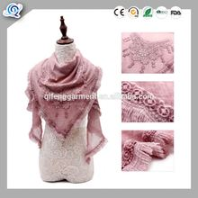 2017 New style scarf factory china triangle scarf with lace trim