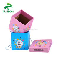 2017 unique cute pretty new born baby girl shower gift packing pink gift box for wholesale