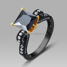 lead free jewelry pure 925 sterling silver black and 18k gold double plating princess ring
