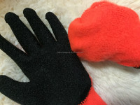 High quality cotton coated green latex hand gloves ,work glove coated glove