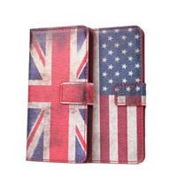 Vintage Flag Pouch Wallet Leather Case for HTC one mini