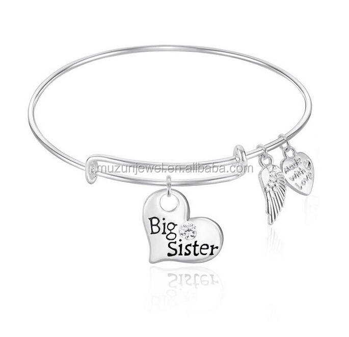Personalized Big sister Expandable 925 sterling silver Wire Bangle Bracelet with Angel Wings Charm