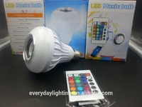 LED Bluetooth Music Bulb E27 12w music playing with 24keys Remote Control Wireless Speaker