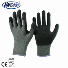NMSAFETY top seller cheapest 10 gauge crinkle latex coated safety working gloves