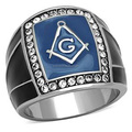 Blue Stainless Steel Masonic Ring