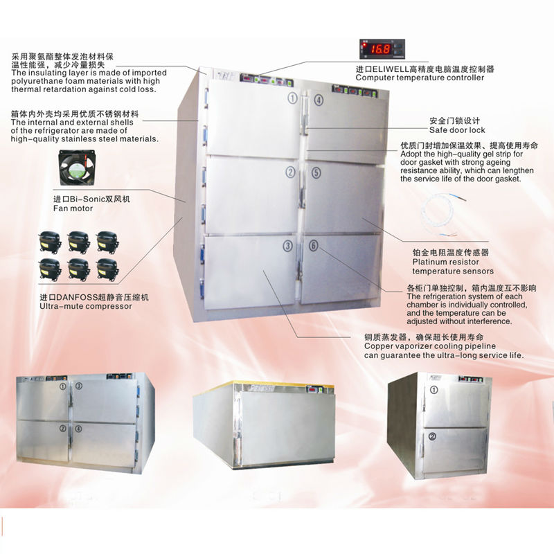 China BT-RMF2 Two bodies Medical Mortuary refrigerator cheap cadaver medical mortuary freezers