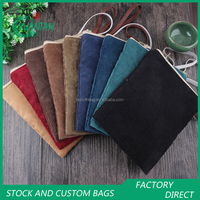 Stock Lot Packing Bag Corduroy Zipper Top Gift Bags/Pouches With Handle