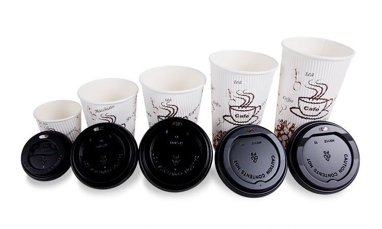 Disposable Product Logo Printed Ripple Paper Cups Ripple Wall for Coffee