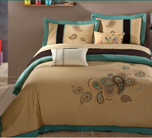 1600 thread count 100sx120s 230gsm king single embroidered woven cotton bed linen