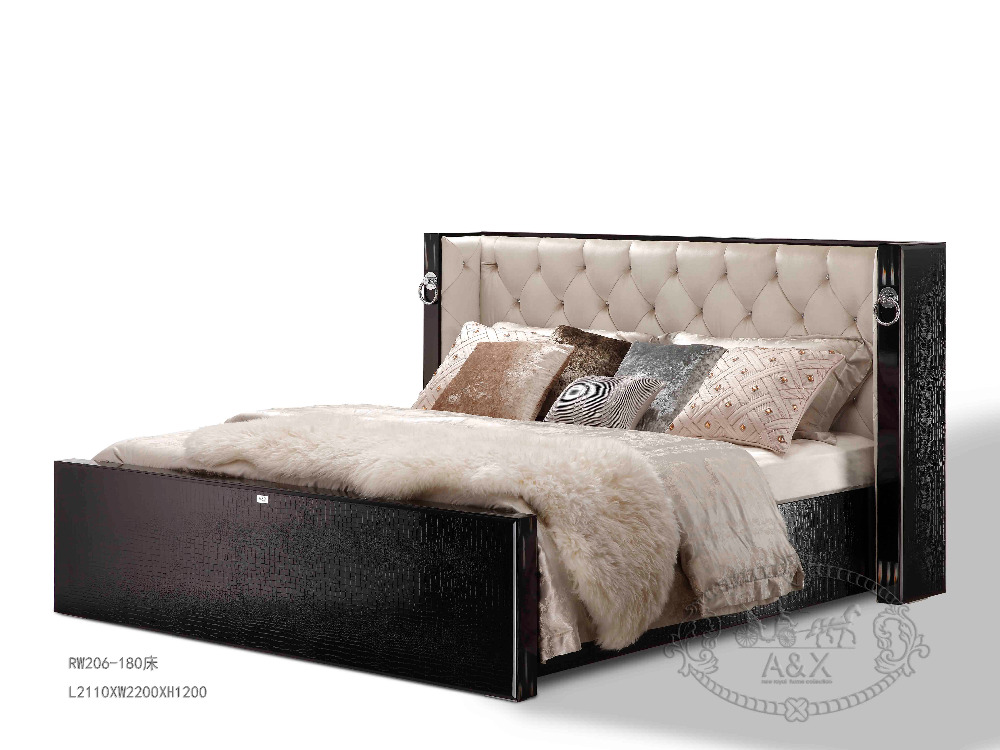 Luxury furniture wood king size bed