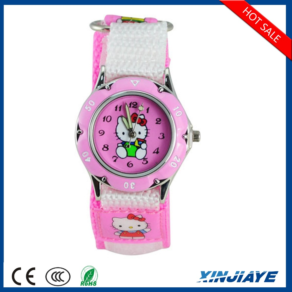 hot selling fashionable lovely pink Nylon belt wristwatch cartoon hello kitty children watch professional gift for girls stud