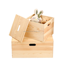custom made natural wooden box large wood doll storage boxes