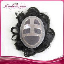 Kimberlyhair wholesale price Swiss lace toupee full lace indian remy human hair toupee / wig for men