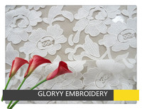 White flower design heavy embroidery lace fabric for wedding dress