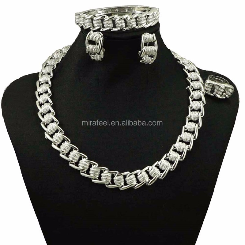 CJ558 GOOD quality inexpensive jewelry sets silver necklace earring set