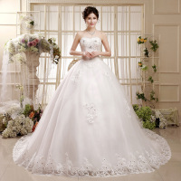 2015 latest white off strapless plus size big tail lace bridal wedding dress for pregnant women