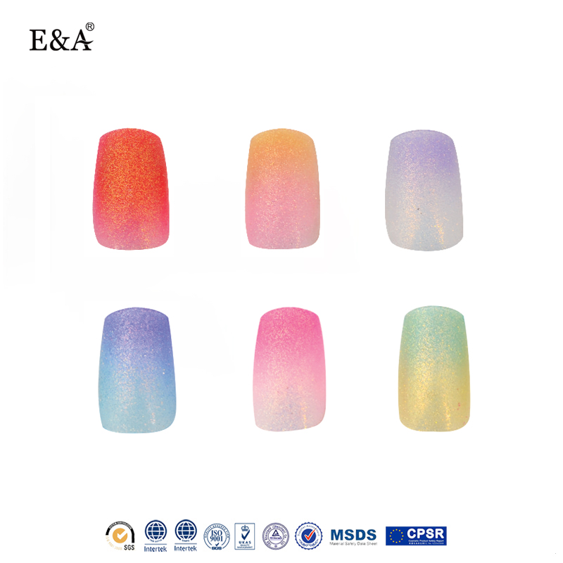 EA wholesale imported ABS material free sample nail art glitter stiletto nail tips