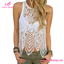 White Sexy Lace Flounced Women Transparent Crop Top