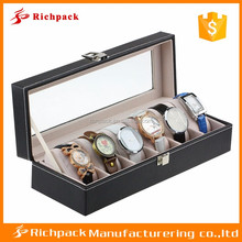 Black PU leather watches box case with window of China manufacturer