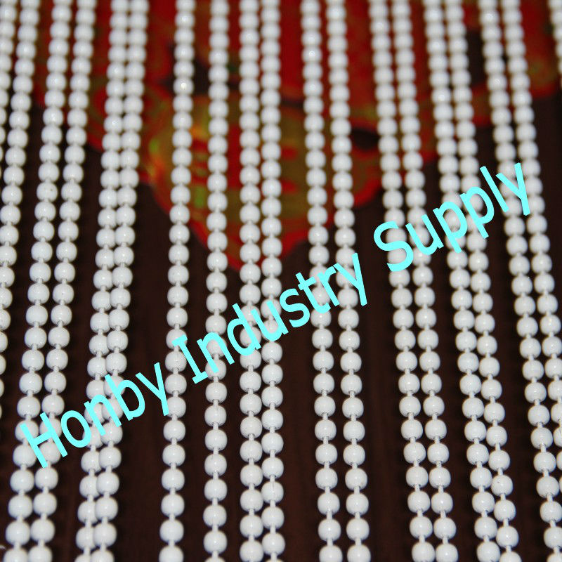 6mm white coated metal bead hanging cafe curtain