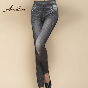 AMESIN Cheap Better Quality Denim Jogger Jeans Ladies Leggings Back Pocket