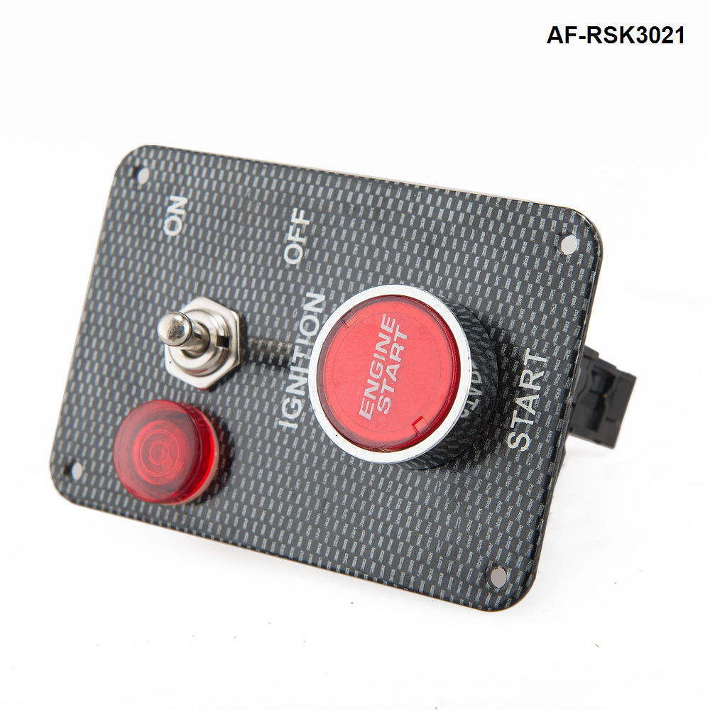 AUTOFAB - <strong>Racing</strong> Car Carbon 12V Ignition Switch Panel Engine Start Push Button Toggle AF-RSK3021