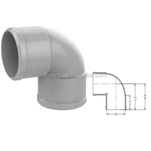 PVC UPVC water drainage Rubber Joint plastic pipe &fittings 90 deg elbow