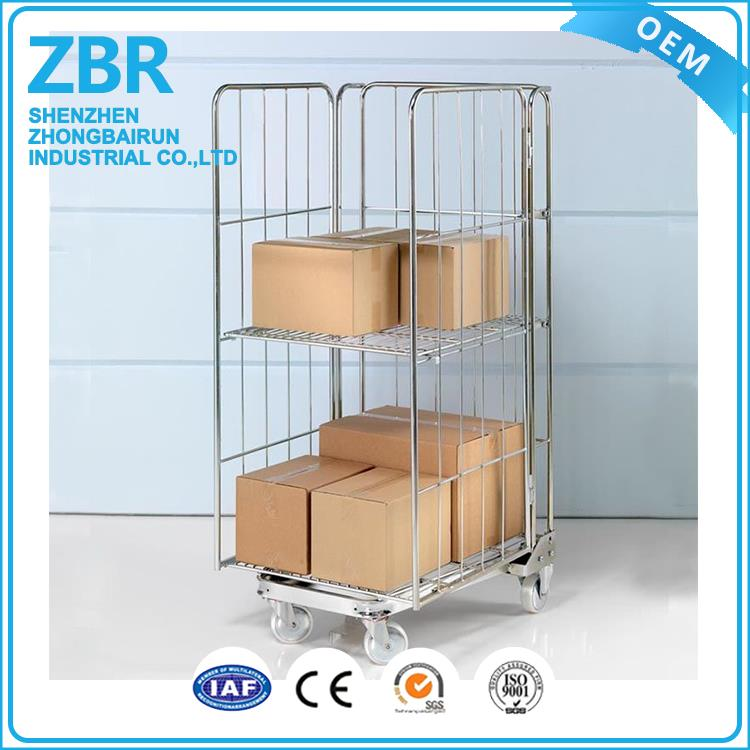 warehouse steel base roll cage trolley