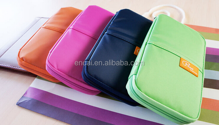 Encai Factory Newest Travel Passport Bags Colourful Ticket Organizer Bags Stocked Passport Holder High Quality