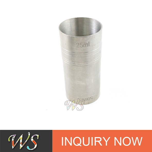 WS-MC04 straight tube stainless steel wine cup/double head measuring cup set