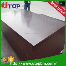 Three time hot press hardwood core 12mm Brown film faced plywood