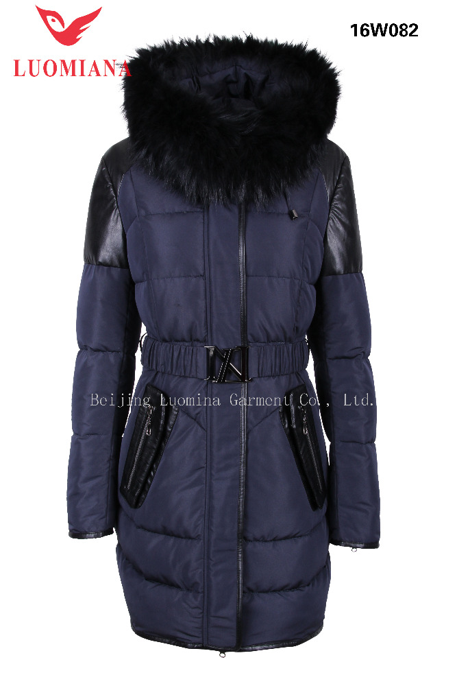 Leather element big fur collar cool style women coat