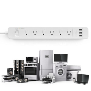 Sockets And Switches Wifi Smart US 6 Outlet Power Plug With USB