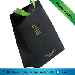 Luxury gold stamping black jewelry shopping paper bag
