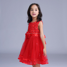 baby fluffy dress 2016 red baby girl party dress
