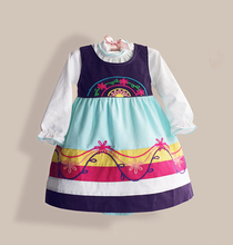 Newest organic cotton children girls smocked frock design dress rainbow stripes thin corduroy jumpsuit dress zoe0001