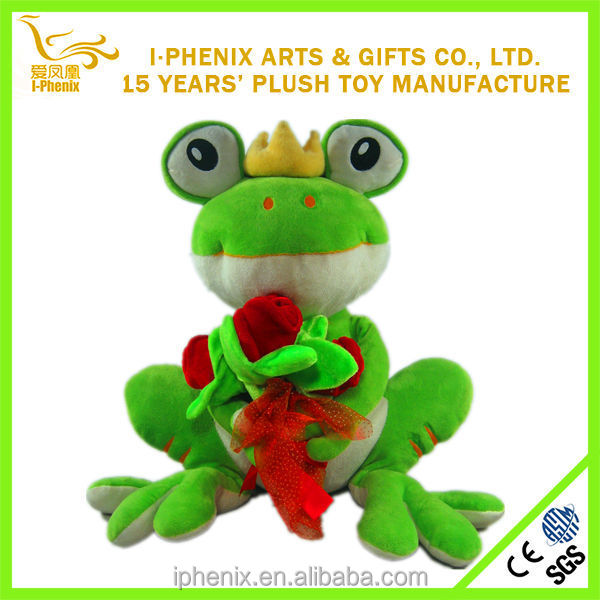2014 popular gifts girl plush green frog with a flower stuffed green plush Valentine frog
