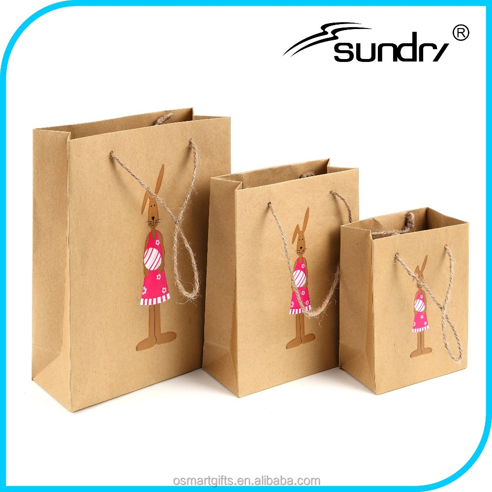 Wholesale craft kraft handles with logo print, 25kg kraft paper bag