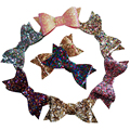 2.8inch Glitter Hair Bow without clips Baby Glitter Hair Bow 10 Color In Stock
