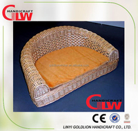 Large wicker pet bed with cushion