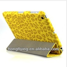 2013 new electronic accessories leopard stand leather case for ipad 3/ipad 4