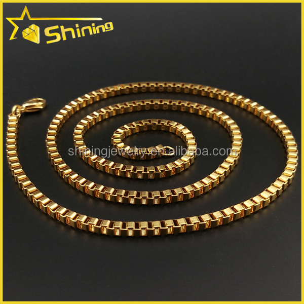 hip hop thick mens yellow gold plated stainless steel 14k box chain