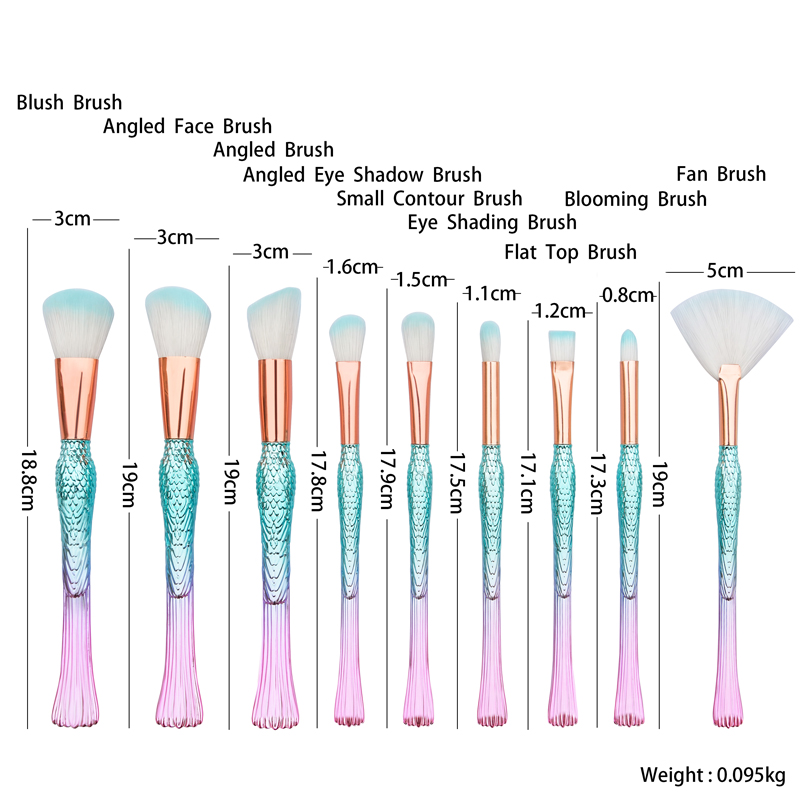 flying bird shape cruelty free brushes makeup 9pcs gradient color make up brushes private label eyeshadow blusher
