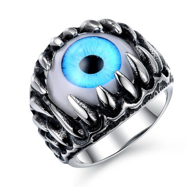 Stainless Steel Big stone Evil Eye Ring For Party