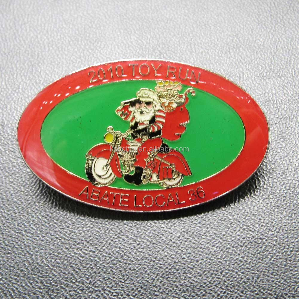 Custom oft enamel with epoxy motorcycle pattern badge/metal toy run badge