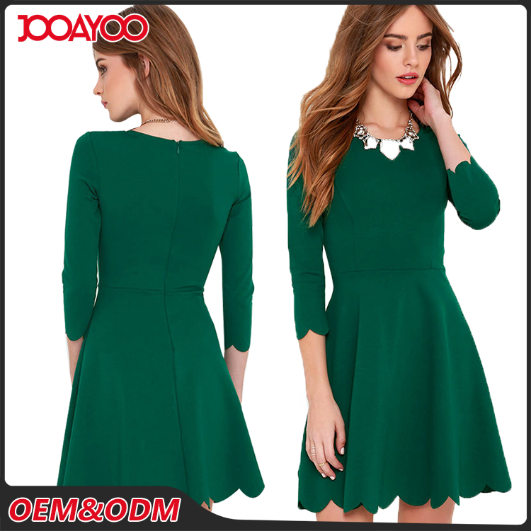 Custom Round Neck Classic Olive Women Dresses New Style Latest Office Dress For Ladies 2017