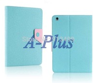 New Blue Korea Fashion Synthetic Leather Foldable Skin Case Cover Stand For iPadMini 9765