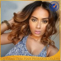 Popular wavy omber virgin brazilian cheap lace front two tone human hair wig